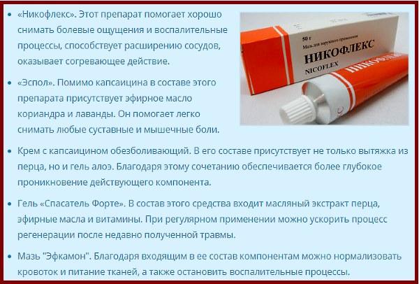 Капсаицин мазь для суставов. Состав, свойства, показания к применению, цена