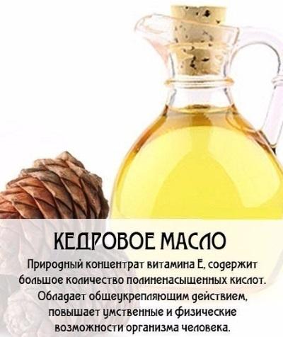 Кедровое масло - польза, лечебные свойства, рецепты применения в косметологии, кулинарии, медицине, гинекологии