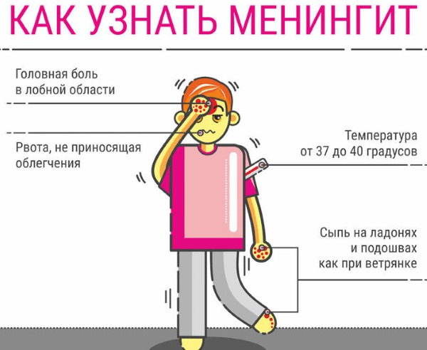 Минингитовая инфекция. Симптомы у взрослых, как передается, инкубационный период, лечение, последствия