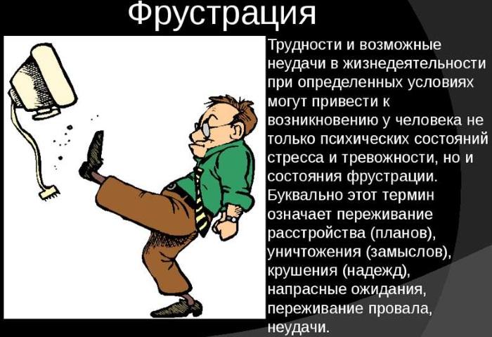 Фрустрация в психологии. Что это такое, определение, примеры, механизм, как избавиться, преодолеть, виды