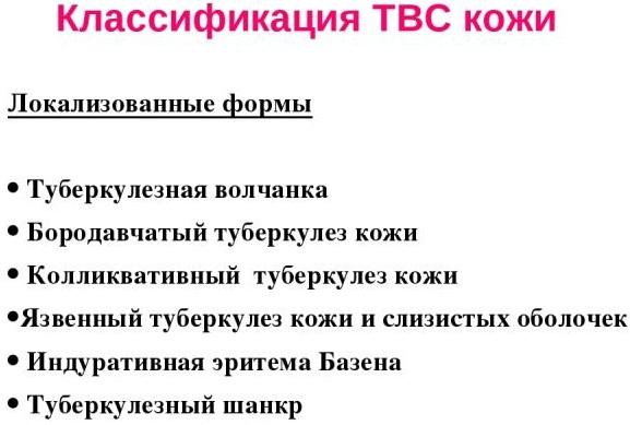 Туберкулез кожи. Симптомы у взрослых, фото, этиология, патогенез, классификация, диагностика