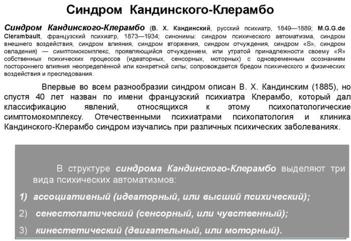 Синдром Кандинского-Клерамбо это что в психопатологии, симптомы, лечение