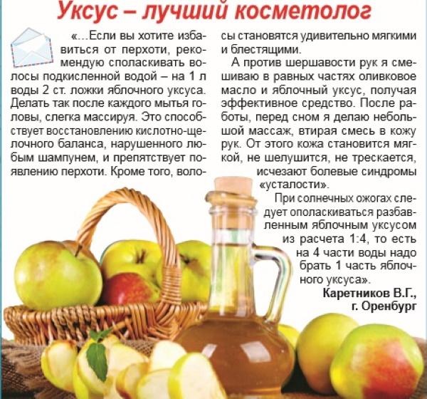 Яблочный уксус. Польза для организма, как пить, лечение